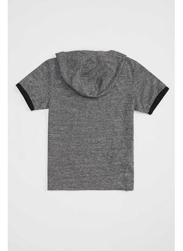 Defacto –Fit Erkek Çocuk Kapuşonlu Kısa Kollu Sweatshirt Gri